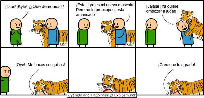 Cyanide-and-Happiness-Un tigre como nueva mascota